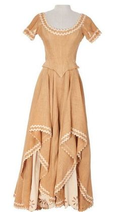 """Betty Grable """"Molly Larkins"""" tan woven dress and hat designed by Travilla from Farmer Takes a Wife"""