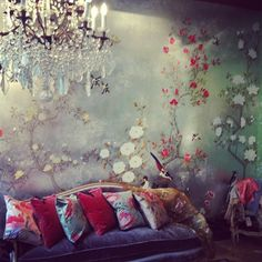 Our Japanese Garden wallpaper at our new Paris showroom #paris #degournay