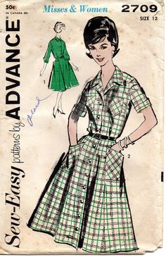 Advance 9970 1960s Button Front DRESS Pattern Flared Skirt womens vintage sewing pattern by mbchills