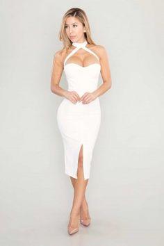 Blythe Bodycon Slit Midi Dress - White