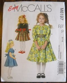 Girls Flared Dress Pattern McCalls 6197 - sizes 6, 7, 8 New, Uncut by FeminineDress