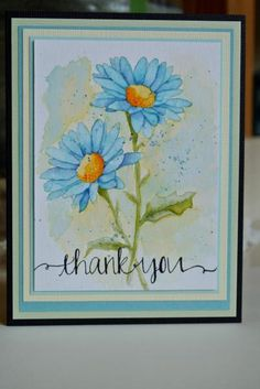 handcrafted card: Thanx by Laurene ... watercolored daisies ... stamped ... look like original art ...