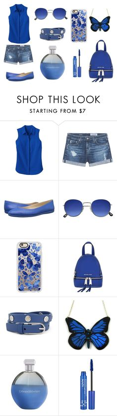 """only blue"" by evagelialove on Polyvore featuring TravelSmith, AG Adriano Goldschmied, Nine West, Casetify, MICHAEL Michael Kors, Tory Burch, Catherine Malandrino and NYX"