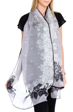 Valentino - Lace Floral Print Scarf in Gray