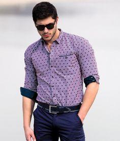 Мъжка риза STYLER в лилаво  #shirts Button Down Shirt, Men Casual, Shirt Dress, Mens Tops, Shirts, Dresses, Gay, Style, Fashion