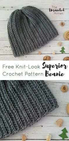 Superior Beanie   Free Crochet Pattern   The Unraveled Mitten   Knit Look Crochet   #crochet #menscrochethat #crochethat #freecrochetpattern