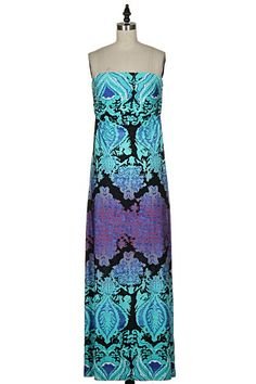 COLOR ME HAPPY Strapless Coral Purple Blue Maxi DressSHOPSIMPLYME.com – Shop Simply Me – Clothing boutique Naples, FL - #shopsimply