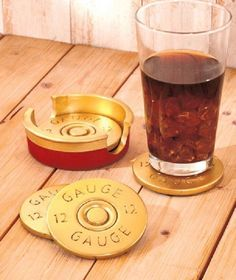 NEW 12 Gauge Shotgun Shell Coasters Rustic Lodge Hunting Cabin Man Cave Decor