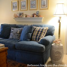 Love the denim sofa!  Reminds me of mine with the exception of this one isn't as worn like mine or like your favorite pair of jeans, and mine is 2 cushion seating instead of 3.  Wish mine were 3!