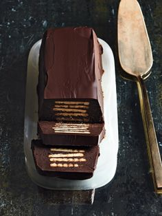 minted dark chocolate truffle terrine