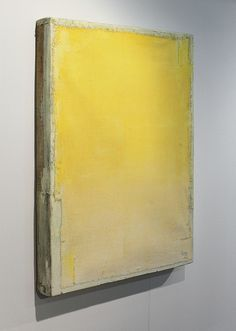 Oil, wax, and canvas on wood I loved these paintings. So subtle and glowing. Lawrence Carroll, Modern Art, Contemporary Art, Abstract Art Images, Monochrom, Yellow Painting, 2d Art, Mellow Yellow, Minimalist Art