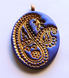 Purple and Gold Paisley pendant handmade large by studiotambria, $12.00