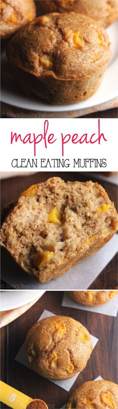 {HEALTHY!} Small-Batch Maple Peach Muffins -- an easy recipe with the same taste as peach pie! These skinny muffins have the same texture as cupcakes!