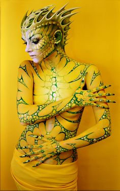 lizard by ~tauart on deviantART. This would be an awesome look. I'd use a painted bodysuit