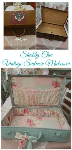 A vintage suitcase with sentimental value is given the shabby chic treatment.