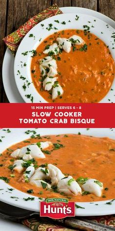 Elevate your slow cooker soup game by pairing a rich Hunt's tomato base with sweet crab meat. Because some nights in call for something a little special. Recipe courtesy of our friends at A Family Feast.