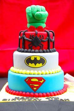 Superhero cake from a Colorful Superhero Birthday Party on Kara's Party Ideas | KarasPartyIdeas.com (17)