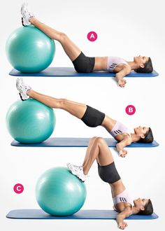 Swiss Ball Hip Raise and Leg Curl... this is one of my very favorite exercises for glutes/hamstrings!! Be sure that when you do this exercise your hips are level and your core is tight!