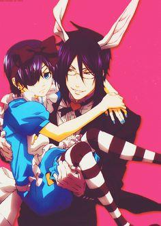 Ciel in Wonderland with Sebastian (Kuroshitsuji)