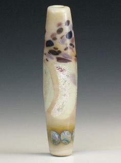 SJC Lampwork 50 x 11.5 mm. handmade silver glass tapered tube bead ~SRA~ USA~ #SJCLampwork #Lampwork