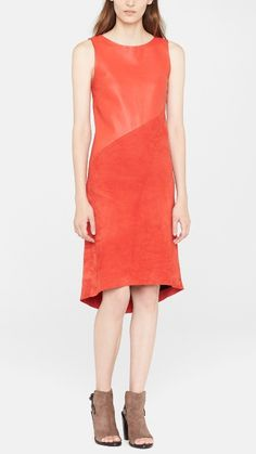 Love to see this with some cool jewelry and bag. rag & bone Suede Leather red dress.