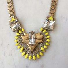 Stella & Dot Statement Necklace Yellow and clear rhinestones - beautiful and perfect for Spring! Stella & Dot Jewelry Necklaces
