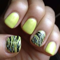 """#zebra nails harmony gelish candyland collection """"don't be such a sourpuss""""  black and silver sparkles"""
