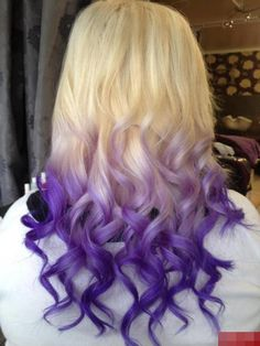 Purple ombre hair! I just love her curls too - straight on top, but gorgeous, well-defined S-shaped  curls on bottom.  www.finditforweddings.com