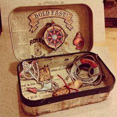Altoids Tin Projects   Altered Altoid Tin 'Ahoy Sailor Bombshell Stamps'   Altered ART