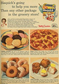 Vintage General Mills Betty Crocker Bisquick ad with Puddin' Cookies recipe, Family Circle, September 1957 Retro Recipes, Old Recipes, Vintage Recipes, Cookie Recipes, Cookbook Recipes, Easy Recipes, Recipies, Vintage Baking, Vintage Food