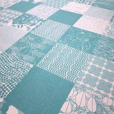 Patchwork II fabric in Bakelite Blue by Umbrella Prints, 50cm x 140cm