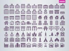 Cosmo buildings icon set