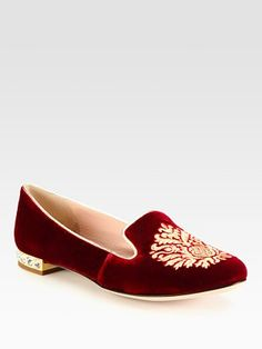 Miu Miu - Velvet Jewel Smoking Slippers in the colour HEAVEN.. no no I think they call it Red aka Bordeaux