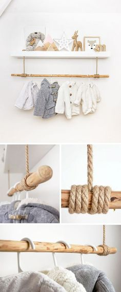 baby diy hacks Shelf hack using thick brown rope lashed onto a rustic wooden pole to create a clothes rail. Works great in a scandi, woodland, ethnic room design. Ideal storage solution and for hanging babies clothes in a nursery.