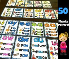 This comprehensive pack includes 50 colorful phonics posters and 3 charts:*Long vowels: ai, ay, ee, ea, oa*Bossy e and Tricky y words*Bossy r: ar, er, ir, or, ur, wr*Blends: ng, bl, cl, fl, gl, pl, slbr, cr, dr, fr, gr, pr, trsc, sk, sm, sn, sp, st, sw *Digraphs: ch, sh, th, ph, wh*Vowel Patterns: au, aw, ew, oo, oi, oy, ou, ow (2 sounds), ui