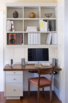small office fits seamlessly into the kitchen - Small Kitchen Desk Ideas