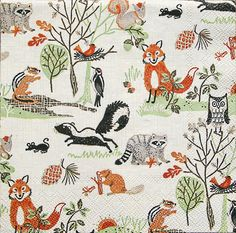 4 Fab PAPER Lunch NAPKINS Woodland Animals PARTY Fox Badger Owl DECOUPAGE Craft