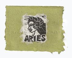 Aries card, lino print on handmade paper by Jennifer Kunin www.etsy.com/shop/JenniferKuninStudio