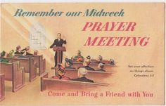 "VINTAGE POST CARD: ""REMEMBER OUR MIDWEEK PRAYER MEETING"" CHRISTIAN CHURCH UNUSED"