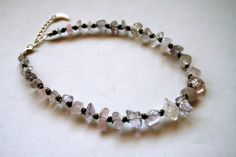 Rose Quartz and Pyrite Beaded Choker Necklace // by HedonistINC