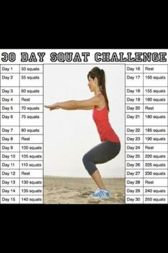30 Day squat challenge fitness workout exercise diy workout exercise tips f092e8d071c