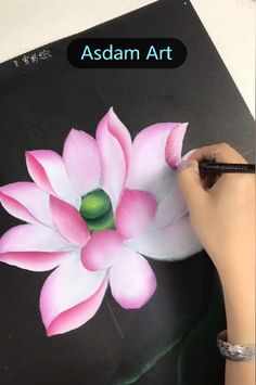 Canvas Painting Tutorials, Acrylic Painting Techniques, Diy Canvas Art, Painting Videos, Painting Lessons, Lotus Painting, Fabric Painting, Acrylic Painting Flowers, One Stroke Painting