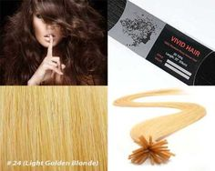 """Vivid Hair 25 Strands Straight Keratin I Stick Tip Human Hair Extensions Color #24 (Light Golden Blonde) by Vivid Hair. $30.99. Texture & Length : Straight 22"""" inches long. Glue Tip: Keratin I Tipped (Stick Shape). Color: # 24 (Light Golden Blond). Quantity: 25 Strands. Hair Type: Remy Silky Human Hair. Each strand weight 0.75g and has approx 180 individual hairs that are bonded together on the ends by a keratin protein glue of I shape hair that is... THE SHOE..."""