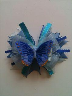 Blue Butterfly hair bow