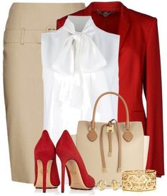 Red, white and beige