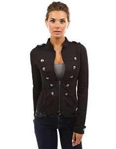 nice PattyBoutik Women's Zip Front Stand Collar Military Light Jacket