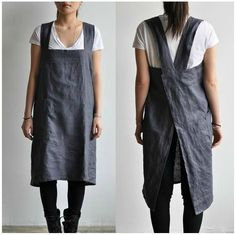 The Hearty Home: A Japanese Style Apron Tutorial Sewing Aprons, Sewing Clothes, Diy Clothes, Japanese Apron, Japanese Style, Apron Tutorial, Diy Vetement, Linen Apron, Apron Diy