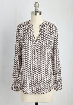 Smart Start Top - Brown, Tan / Cream, Geometric, Buttons, Work, Long Sleeve, Woven, Better, V Neck, Mid-length