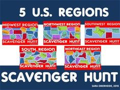 U.S. Regions Social Studies and literacy fun with scavenger hunts!  This is a bundle of all 5 region scavenger hunts.  You will save 30% or $5 by purchasing the bundle instead of individual regions. Included in this bundle are 120 task cards for all 5 U.S.