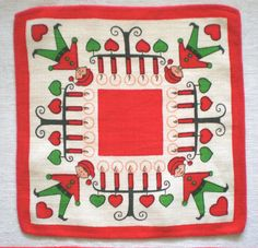 Swedish Christmas Linen Table Mat Doily by Linens and Things+on+Etsy